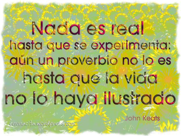 Nada es real hasta que se experimenta: aún un proverbio no lo es hasta que la vida no lo haya ilustrado