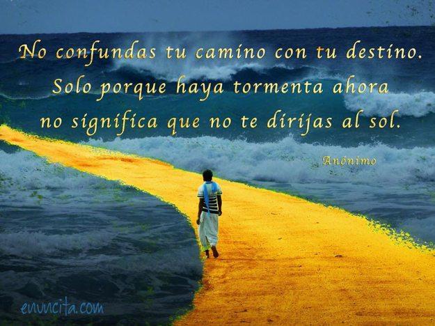 No confundas tu camino con tu destino. Solo porque haya tormenta ahora no significa que no te dirijas al sol.