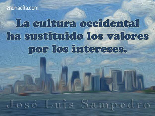 La cultura occidental ha sustituido los valores por los intereses. José Luis Sampedro